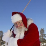 Santa Claus with golf club